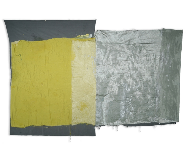 clair de lune argent, 2012, acrylic and fabric 49x69 in