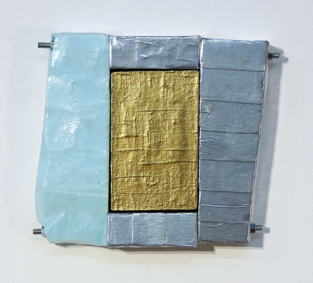 Untitled (Lunar-Berry-Bronzite), 2014, Foam, duct tape, acrylic, steel nuts, bolts, washers, and rods on canvas, 12.5(H) x 14(W) x 2(D)