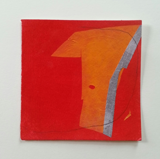 Diane Englander. Orange on Red With Line. Mixed media on paper 6x6 inches.