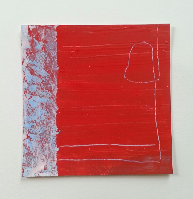 Diane Englander.Lines in Red. Mixed media on paper 6x6 inches.