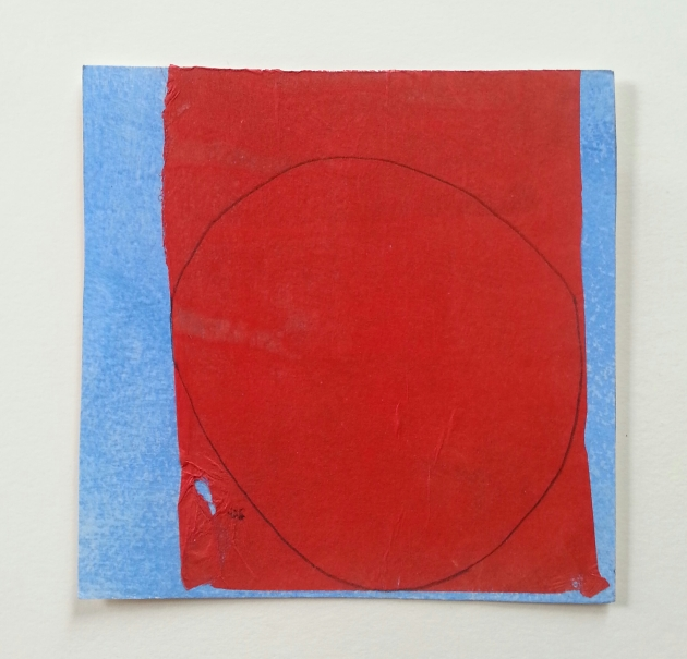 Diane Englander. Almost Circle on Red. Mixed media on paper. 6x6 inches.