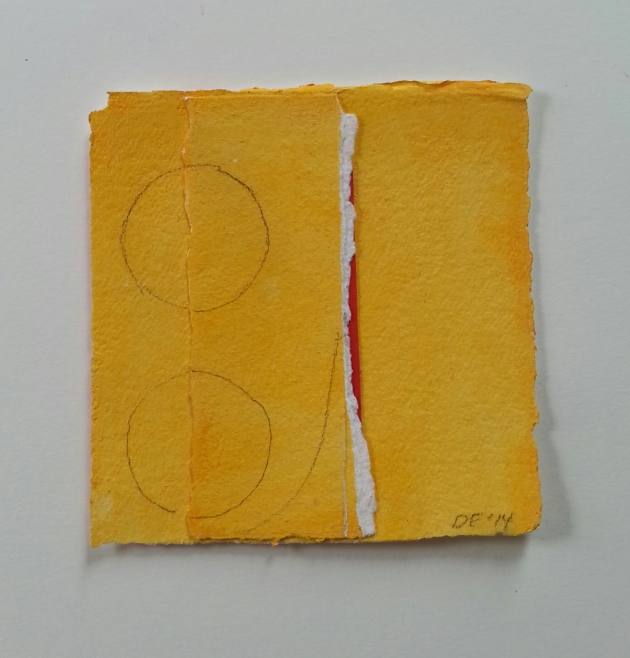 Diane Englander. Orange With Circles. Mixed media on paper. 6x6 inches.