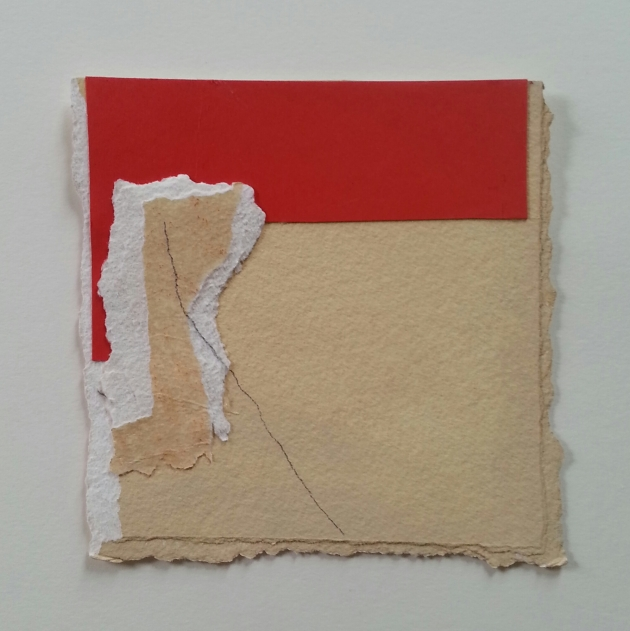 Diane Englander. Red on Buff. 6x6 inches mixed media on paper.